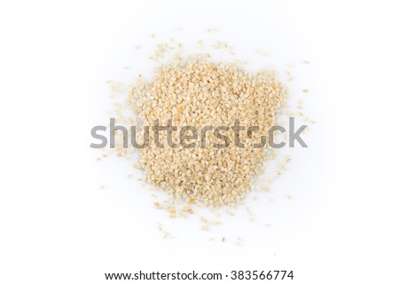 Macro view of sesame seeds isolated on white background