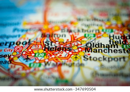 Macro view of St. Helens, United Kingdom on map. (vignette) - stock photo