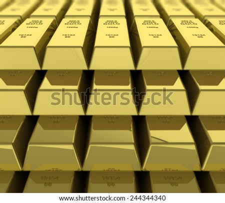 Macro view of stacks of gold bars - stock photo