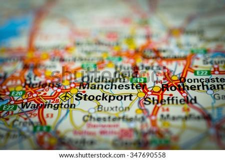 Macro view of Stockport, United Kingdom on map. (vignette) - stock photo