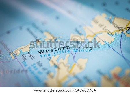 Macro view of Western Isles, United Kingdom on map. (vignette) - stock photo