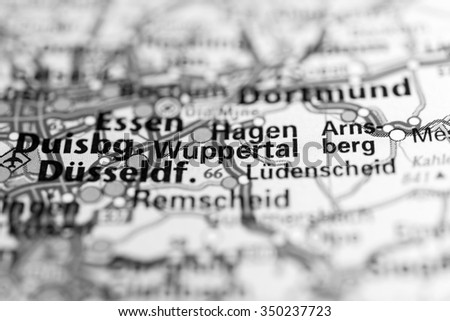 Macro View Wuppertal Germany On Map Stock Photo 350237723 Shutterstock
