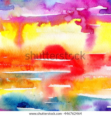Macro wash watercolor background. Image of a colorful wet paint stains and splashes. Artistic technique illustration. Hand made backdrop art for print. Sea sunset. - stock photo