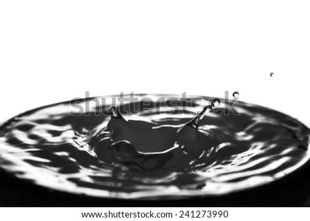 Macro water drop on a black background and circles on it - stock photo