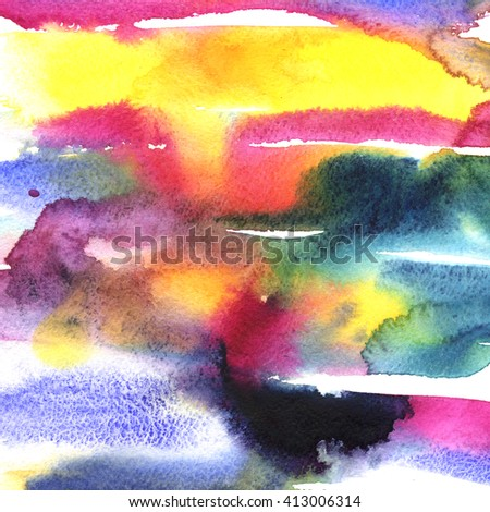 Macro watercolor background with paper texture grains, paint stains and splashes. Image of a colorful wet paint strokes. Artistic technique illustration. Hand made backdrop art for print, card - stock photo