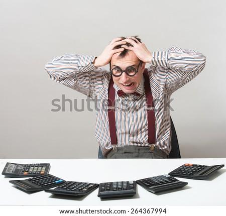 Mad accountant, humorous portrait - stock photo