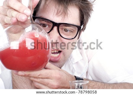 mad chemist conducting experiments in the laboratory with flasks, isolated over white, - stock photo