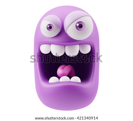 Mad Emoticon Character Face Expression. 3d Rendering. - stock photo