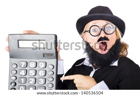 Mad female accountant with mouth wide open pointing to massive calculator. Huge sale discount concept