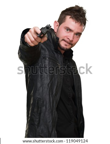 mad man pointing with gun against a white background