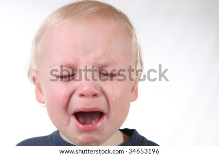 Mad Screaming Little Boy With Tears Streaming Down His Face