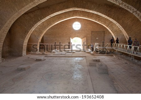 MADABA, JORDAN - APR 28, 2014: Apostle's church in Madaba, Jordan. Madaba is called 'the city of Mosaics'