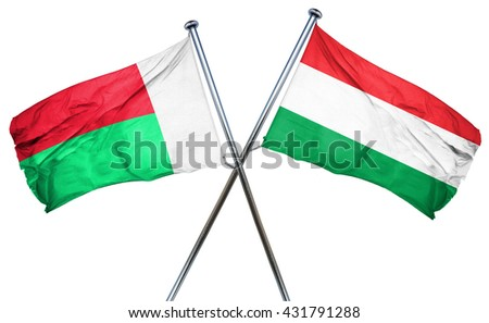 Madagascar flag with Hungary flag, 3D rendering