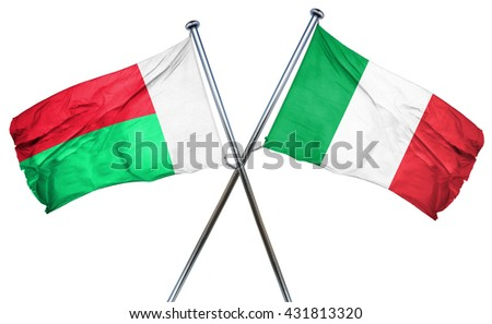 Madagascar flag with Italy flag, 3D rendering