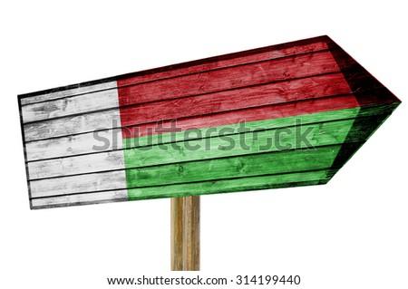 Madagascar Flag wooden sign isolated on white - stock photo