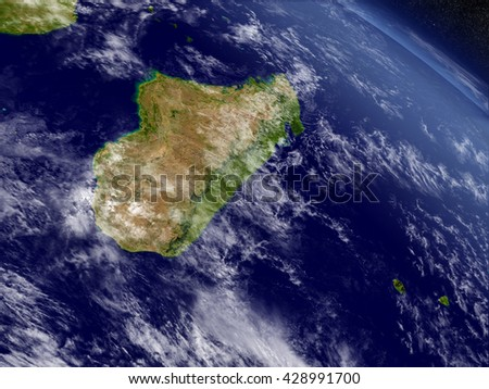 Madagascar with surrounding region as seen from Earth's orbit in space. 3D illustration with highly detailed planet surface and clouds in the atmosphere. Elements of this image furnished by NASA.