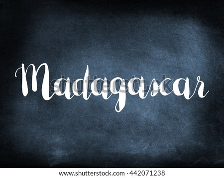 Madagascar written on a blackboard