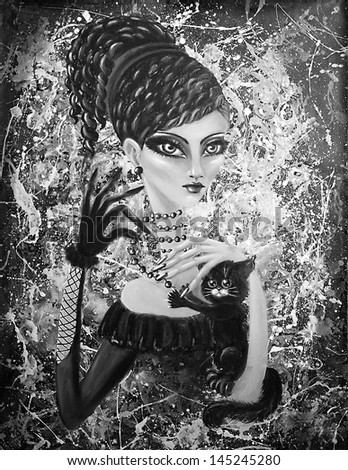 Madame Fleur - portrait of a girl with black kitten, on an abstract background, original oil and acrylic painting, handmade by the artist (me). Black and White version.