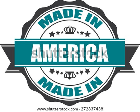 Made In America Grunge Rubber Stamp with Star And Ribbon. (Sticker, Tag, Icon, Symbol)  - stock photo