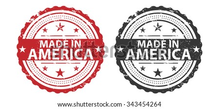 Made in America Grunge Stamp - stock photo
