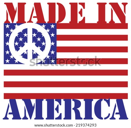 Made in America text design with American flag and peace symbol.