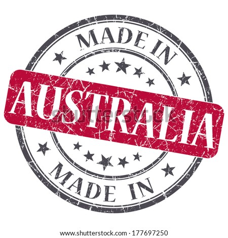 made in Australia red grunge round stamp isolated on white background - stock photo