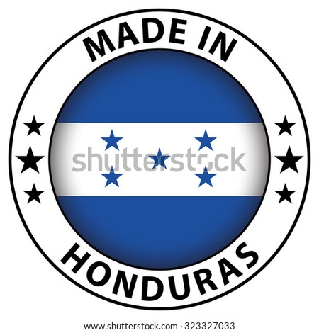 Made in badge with flag inside - Honduras