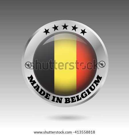 Made in belgium silver badge and icon with glossy  flag symbol  illustration