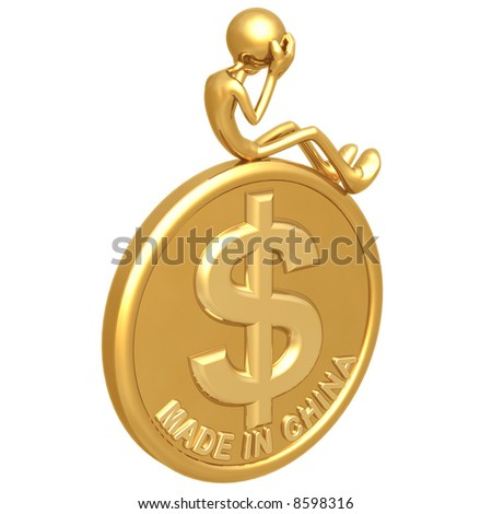 Made In China Dollar Coin - stock photo