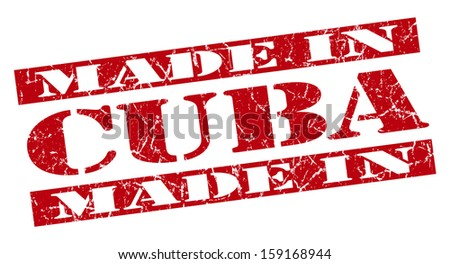 made in Cuba grunge red stamp - stock photo