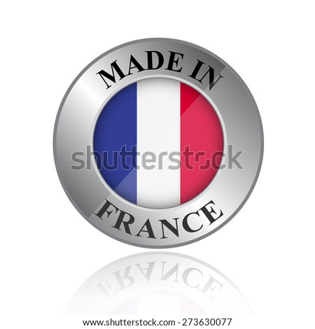 Made in France badge with reflection