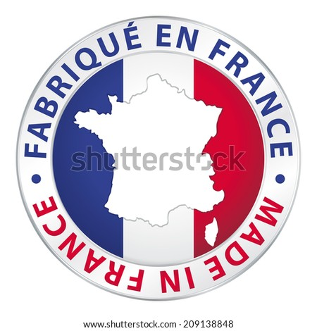 Made in France. Product label.  - stock photo