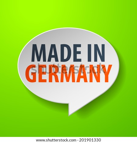 Made in Germany 3d Speech Bubble on green background