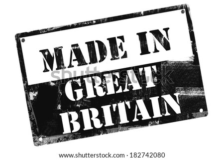 Made in Great Britain plate, illustrated with grunge textures, cutout, isolate on white background.