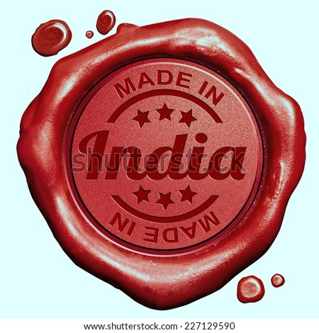 Made in India red wax seal or stamp, quality label - stock photo