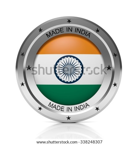Made in India round badge with national flag, isolated on white background.