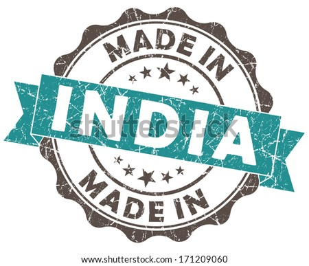 made in india turquoise grunge seal isolated on white background - stock photo