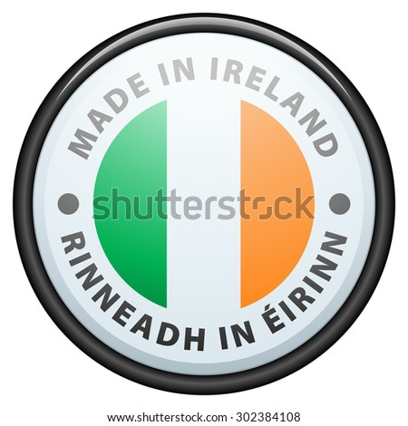 Made in Ireland (non-English text - Made in Ireland) - stock photo