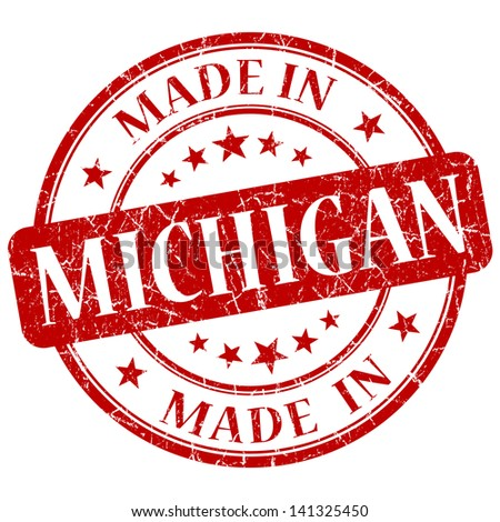 made in michigan stamp - stock photo
