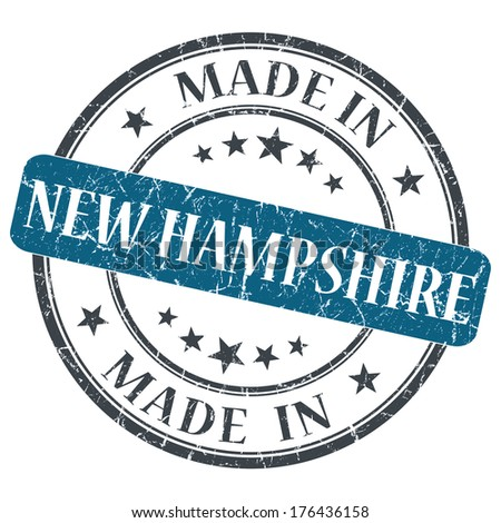made in New Hampshire blue round grunge isolated stamp - stock photo