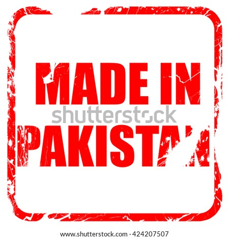 Made in pakistan, red rubber stamp with grunge edges