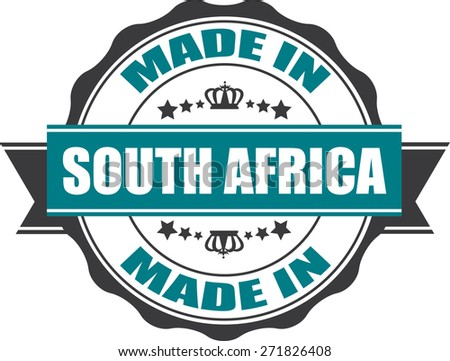 Made In South Africa Grunge Rubber Stamp with Star And Ribbon. (Sticker, Tag, Icon, Symbol)  - stock photo
