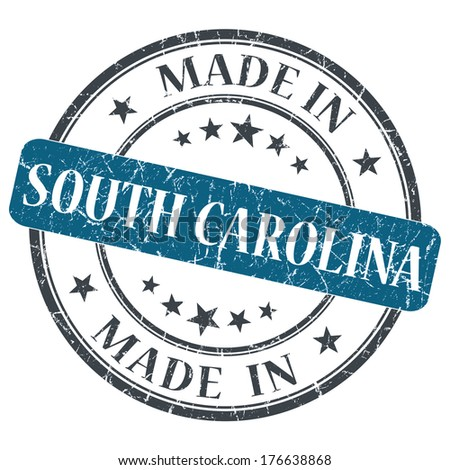 made in South Carolina blue round grunge isolated stamp - stock photo
