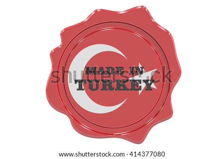 made in Turkey seal, stamp. 3D rendering