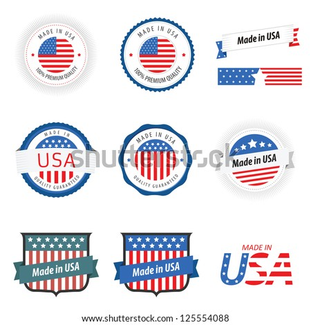 Made in USA labels, badges and stickers - stock photo