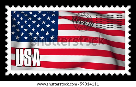 Made in USA original stamp - stock photo