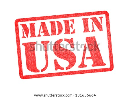 MADE IN USA Rubber Stamp over a white background. - stock photo