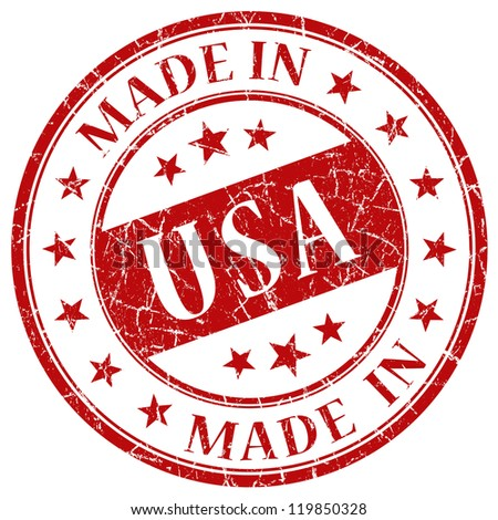 Made in USA stamp - stock photo