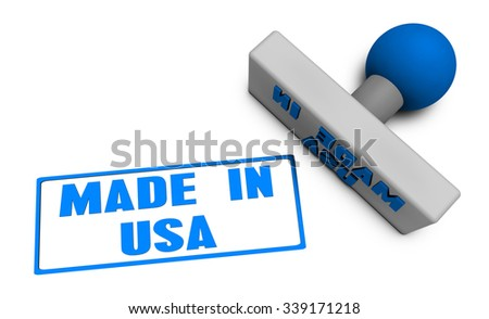 Made in USA Stamp or Chop on Paper Concept in 3d - stock photo