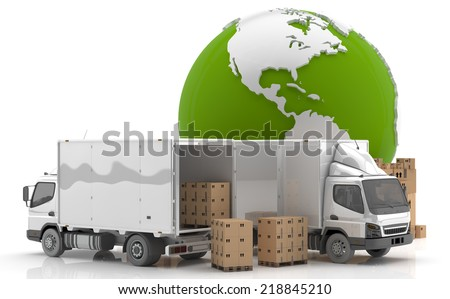 Made in USA. Transportation. Manufacturing in America. - stock photo